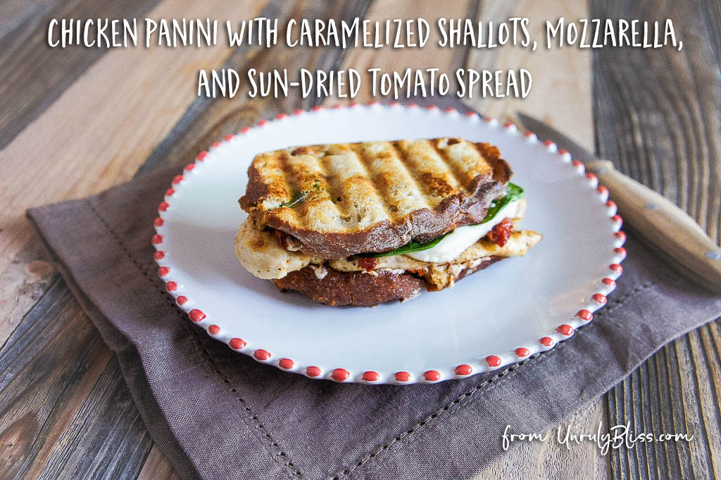 Chicken Panini with Caramelized Shallots, Mozzarella, and Sun-Dried Tomato Spread from UnrulyBliss.com